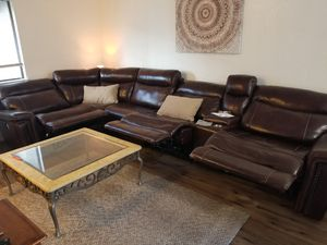 Near new brown leather sectional couch usb ports for Sale in Modesto, CA