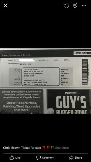 Chris Brown Concert Ticket for Sale in Millsboro, DE