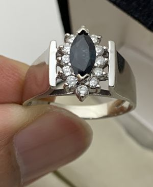 14K Solid White Gold Genuine Sapphire & Diamond Accents Ring Size8 1/4 for Sale in Greer, SC