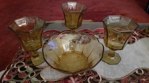 Vintage Amber bowl and 3 glasses with stems. for Sale in Kingsley, PA