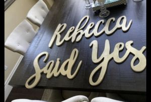 Wooden name signs wedding decor rebecca says yes for Sale in Dublin, CA