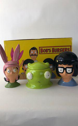 Bobs Burgers 3 Ceramic Mini Cookie Jars for Sale in San Diego, CA