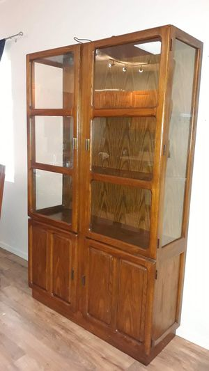 Wood and glass cabinet for Sale in Tucson, AZ