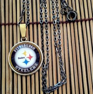 20inch Dark 20 inch, Brass Chain Necklace w Steeler Cabochon Charm for Sale in Penn Hills, PA