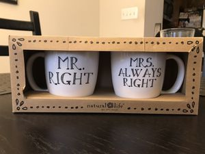 Mug Set (Mr. Right/Mrs Always Right) for Sale in Clarksburg, MD