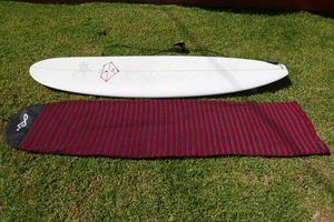 7.6ft surfborad with fins, leash and sock for Sale in Santa Monica, CA