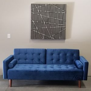 New in box Blue Velvet Mid-Century Modern Sofa Bed Couch Futon for Sale in Vancouver, WA