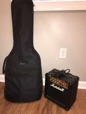 Electric guitar for sale with Marshall amp complete with plug in wire and guitar attachment wire and squier brand electronic guitar for Sale in Inwood, WV