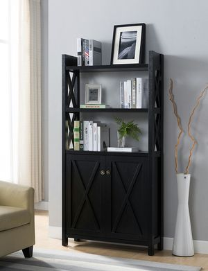 Michelle 2 Door Bookcase, Black Color for Sale in Fountain Valley, CA