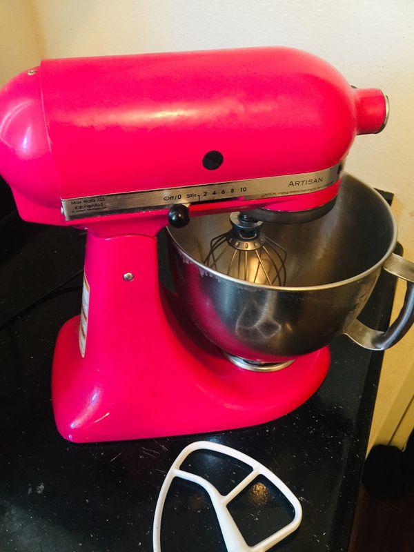 Pink kitchen aid stand mixer