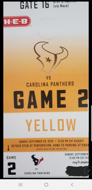 Houston Texans yellow pass- Panthers for Sale in Humble, TX