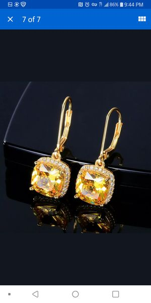 Beautiful gold plated created citrine and Sapphire earrings for Sale in Citrus Heights, CA