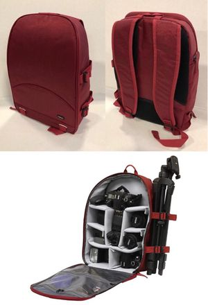 New in box Dark Red or Black Deluxe SLR Camera Cushion Backpack Tripod Holder 13x7x16 inches for Sale in Los Angeles, CA