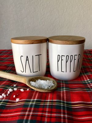 Rae Dunn Salt And Pepper Cellars In White ceramic with wooden lids. for Sale in Pasadena, CA