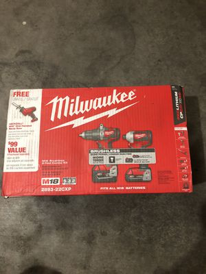 Milwaukee M18 18-Volt Lithium-Ion Brushless Cordless Hammer Drill/Impact Combo Kit + Hacksaw with 2 Batteries ( 2.0AH and 4.0AH ), Charger. for Sale in Phoenix, AZ