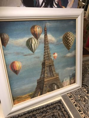 Large Eiffel Tower Picture with White Frame PENDING PICKUP for Sale in Seattle, WA
