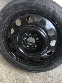 Spare tire for Ford Mustang Brand new never used$50, Bike rack fits 3 bikes $35, car left Jack $25, Mounted Roof Cross Bars $80, Ford mustang original for Sale in North Attleborough,  MA