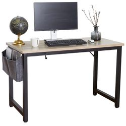 Computer Desk 47 Inch Modern Sturdy Office Desk, Heavy Duty Writing Study Desk for Home Office with Extra Thickened Frame & Strong Legs (Black+White) for Sale in Ontario, CA