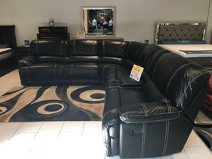 Venice Black Reclining Sectional Sofa $999. NO CREDIT CHECK FINANCING for Sale in Tampa, FL