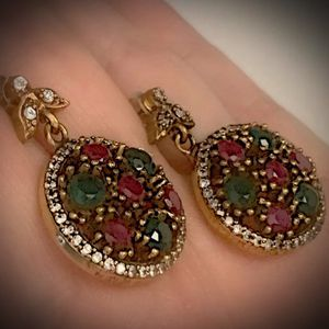 PIGEON BLOOD RED RUBY EMERALD FINE ART EARRINGS Solid 925 Sterling Silver/Gold WOW! Brilliantly Faceted Round Cut Gems, Diamond Topaz L6161 V for Sale in San Diego, CA