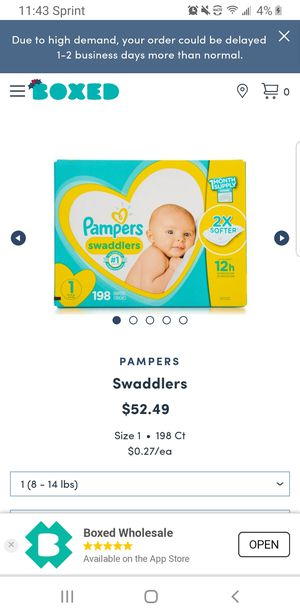 Pampers Swaddlers Diapers size 1 198 count for Sale in Clovis, CA