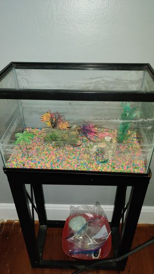 Fish tank, stand and stone . No cover $20.00 for Sale in Forest Heights, MD
