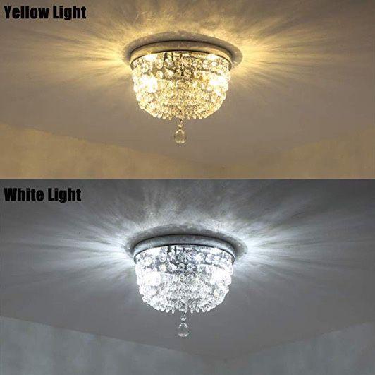 "Lights Ceiling Light Pendant Fixture Lighting Chrome Finish Modern Crystal Chandelier, Crystal Ceiling Light (9.8"")"