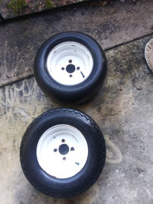 20.5x8-10 set of two golf cart trailer rims tires wheels EZ-GO for Sale in PT ORANGE, FL