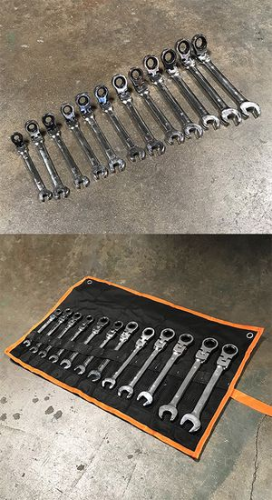 Brand New $37 Flexible Head 12pcs Ratcheting Wrench Spanner Tool Set 8-19mm Metric for Sale in Downey, CA