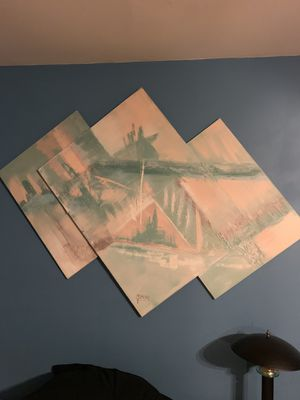Very, Very Large Abstract Dimensional Art Painting By Simone. Haven't Taken Measurements yet, but about 3'-4' Wide. Pick up in East Clayton today for Sale in Clayton, NC