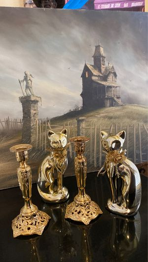 7 In Tall Two Japan Metal Gold Color Candle Holders and Two Gold Color Cats. for Sale in Las Vegas, NV