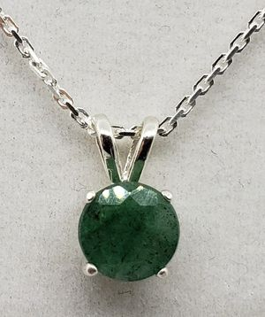 Natural Round Emerald Silver Necklace for Sale in Justin, TX