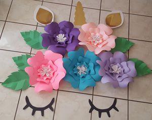 Unicorn Paper Flowers Flores De Papel Tema Unicornio For Sale In