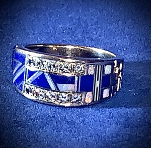 14K GOLD MENS FASHION BAND DIAMOND RING w/OPAL & LAPIS IN-LAY for Sale in Powder Springs, GA