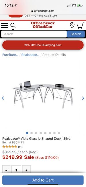 L shaped glass and metal desk with glass and metal shelves from Office Depot for Sale in Boca Raton, FL