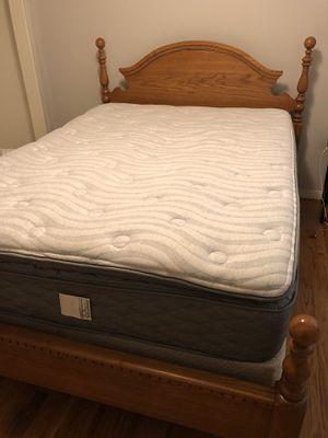 Oak bed with new Serta Mattress set for Sale in Nashville, TN