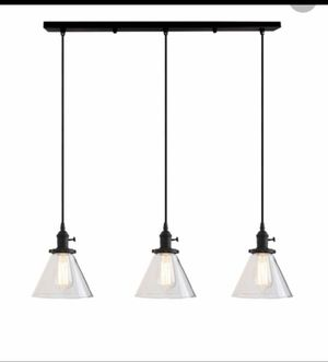 Permo Industrial Vintage Pendant light with Funnel Flared Glass Clear Glass Shade 3 light fixture no bulbs ! for Sale in Los Angeles, CA