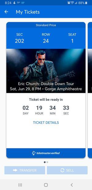 Eric Church tickets for Sale in Montesano, WA