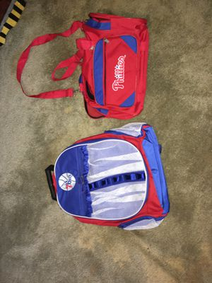 New Sixers school bag and Phillies fold up duffle bag for Sale in Clifton Heights, PA