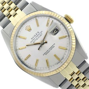Rolex Datejust- 36mm Gold Steel Watch Silver Index Dial Fluted Bezel Watch for Sale in Los Angeles, CA