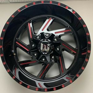 """Brand New 22"""" WCTS 22X12 6x135 / 6x139.7 Black Red Milled Wheels for Sale in Miami, FL"""