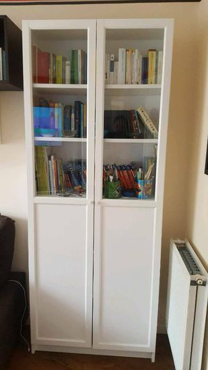 Beautiful Ikea White Display Curio Bookcase Bookshelves Pantry Storage Organizer Bath Hutch + Shelves INCLUDED for Sale in Monterey Park, CA