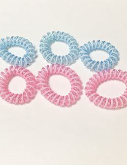 Light Pink and Light Blue White Spiral Hair Ties- 6 PCS for Sale in San Francisco,  CA