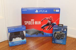 PS4 Spider-Man Bundle with Extra Controller, Dual Charging Dock, and 12 Months PSN Plus for Sale in Los Angeles, CA