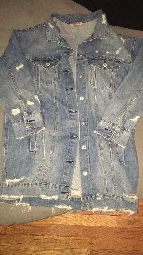 L woman's long Jean jacket