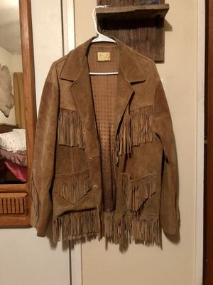 Brown leather fringe jacket. Size 40 for Sale in Milwaukie, OR