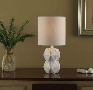 White Wash Faceted Faux Wood Table Lamp for Sale in Greenville, SC