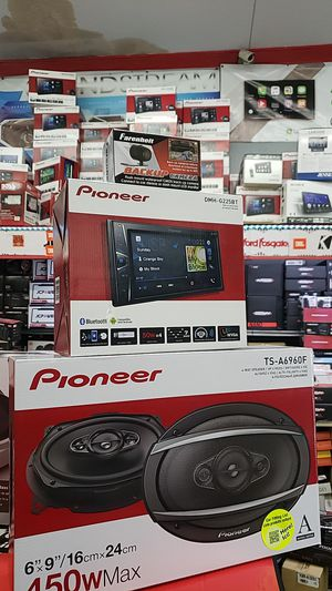 Pioneer package double din touchscreen Bluetooth backup camera Pioneer 6x9 inch car speakers for Sale in San Diego, CA