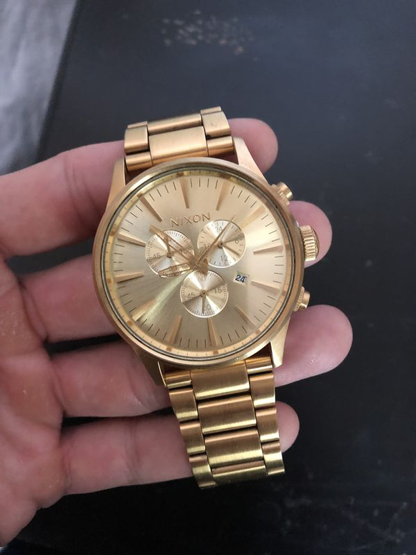 Nixon Sentry Chrono 42mm Gold Watch