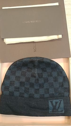 Authentic lv blue grey beanie hat for Sale in Fair Lawn, NJ